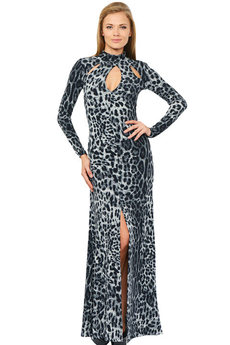 Длинное леопардовое платье Mondigo
