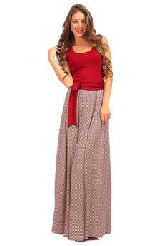 Длинное платье бордового цвета Mondigo