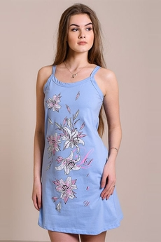 Синяя сорочка на бретельках с цветами FIORITA