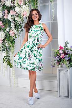 Платье с зелеными листьями Angela Ricci со скидкой